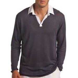 Island Company Collared Gray Linen Polo